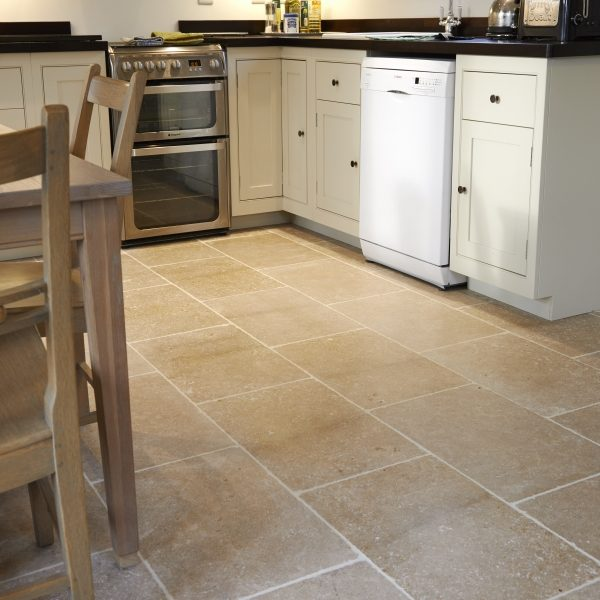 Dijon Tumbled limestone Kitchen