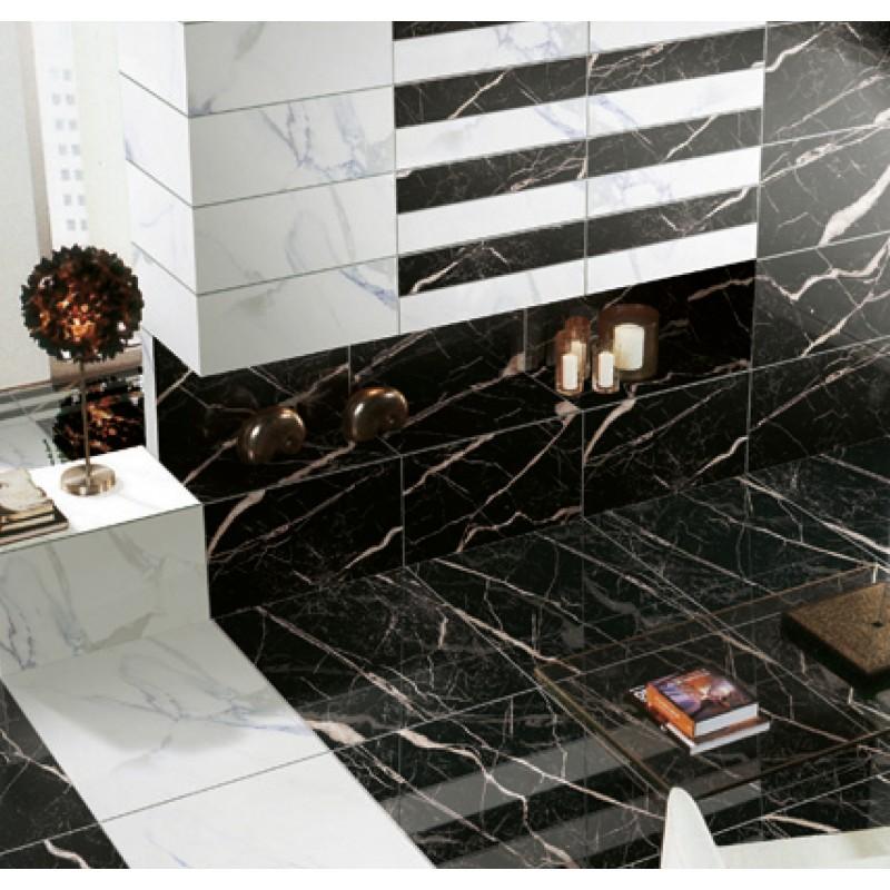 Nero Marquina Polished Porcelain 60 X 60 London Floors