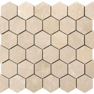 Creme Almeira Hexagon Honed Mosaic Tiles