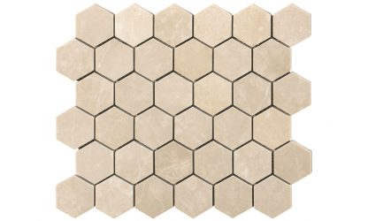 Creme Almeira Hexagon Honed Mosaic Tiles