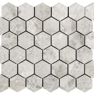 Silver Sky Hexagon Polished Mosaic Tile