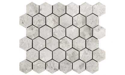 Silver Sky Hexagon Polished Mosaic Tile