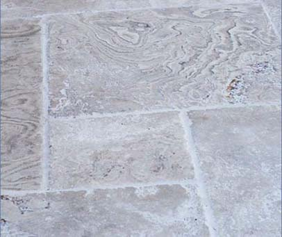 Silver Brushed Distressed Edge Travertine Opus
